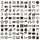 100 eco music set, simple style. 100 eco music set in simple style on a white background Stock Photos