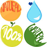 Eco natural 100%. Eco natural icons apple orange leaf and water Stock Photography