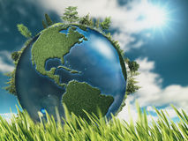 Eco natural backgrounds with Earth globe Stock Images