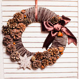 Eco natural Christmas wreath stock photo