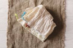 Eco natural cotton reusable bag for shopping flat lay on rustic. Background. sustainable lifestyle concept. zero waste. plastic free items. stop plastic Stock Photo