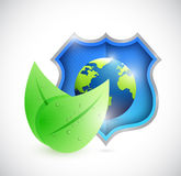 Eco natural globe shield illustration design Stock Photos