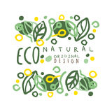Eco natural label, logo graphic template original design. Healthy lifestyle, handmade products, organic food menu hand Royalty Free Stock Photo