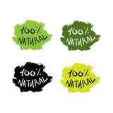 Eco Natural Lettering. Hand drawn ecology and 100 percents natural lettering. Isolated grunge sticker or nature icon of quality for banner, web, card, print. Eco Stock Illustration