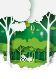 Nature landscape with green environment conservation. Eco and nature concept paper art style design.Forest plantation with green environment and ecology royalty free illustration