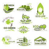 Eco nature and green ecology vector icons set Royalty Free Stock Photos