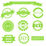 Eco, nature, organic white label on isoleted green Stock Photos