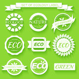Eco, nature, organic white label on isoleted green Royalty Free Stock Photo