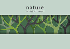 Eco and nature template design with green trees in paper art sty Royalty Free Stock Image