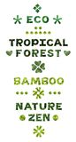Eco nature theme lettering set royalty free stock photography