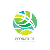 Eco nature - vector logo template concept illustration. Abstract geometric structure in circle shape. Green leaves symbol. Royalty Free Stock Photos