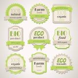 Eco och Bio etiketter Royaltyfri Fotografi