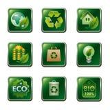 Eco och bio symbolsuppsättning Fotografering för Bildbyråer