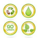 Eco och naturcirkelemblems ställde in Royaltyfri Bild