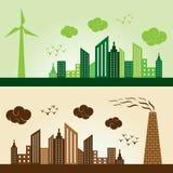 Eco och Polluted bakgrund för stadsbegrepp Arkivbilder