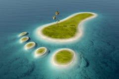 Eco odcisku stopy kształtna wyspa Fotografia Stock