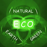 ECO op Bord toont Milieuzorg of Milieuvriendelijk Na Stock Afbeelding