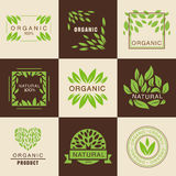 Eco Organic Labels Set Stock Photography