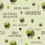 Eco and organic seamless pattern. Non gmo design Stock Image