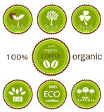 Eco organic vector labels. Ecological organic icons or labels in green and brown colors for food products design. vector illustration Stock Photo