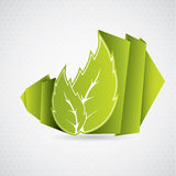 Eco origami leaf Royalty Free Stock Photo