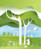 Eco paper art design style, tree and family with nature.vecto Stock Photography