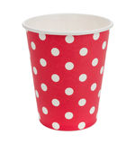 Eco paper cups in red white point Royalty Free Stock Photo