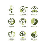 Eco People Logo Set Royalty Free Stock Photos