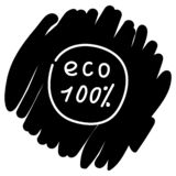 Eco 100 percent vector icon. Ecology label on black background. Eco badge ecology label vector illustration royalty free illustration
