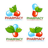 Eco Pharma, glansigt nd-sken Logo Template med bilder av preventivpillerar a Arkivfoton