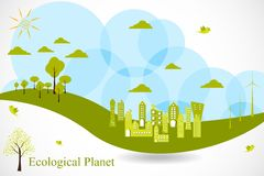 Eco Planet. Easy to edit vector illustration of ecofriendly city royalty free illustration