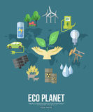 Eco planet flat style design concept with ecology Stock Photo