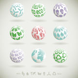 Eco planet icons Royalty Free Stock Images