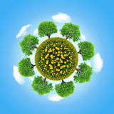 Eco planet with trees Royalty Free Stock Photo
