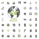 Eco planetsymbol Uppsättning för Eco och för alternativ energi vektorsymbol Vektor för uppsättning för resurs för makt för elektr Arkivbild