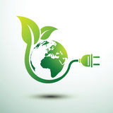 Eco plug. Green eco power plug design with Green earth,  illustration Stock Photo
