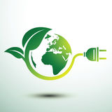 Eco plug. Green eco power plug design with Green earth, vector illustration Stock Photography