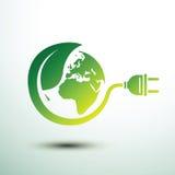 Eco plug. Green eco power plug design with Green earth, vector illustration Stock Image