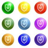 Eco plug shield icons set vector stock illustration