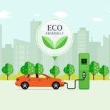 Eco Pojęcie Życzliwy Paliwowy załaduj elektryczny samochód stację EV rec royalty ilustracja