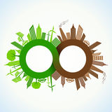 Eco and Polluted city around infinity symbol Stock Photos