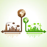 Eco and polluted city concept with earth Stock Photography