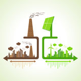 Eco and polluted city concept with solar panel and chimney Stock Images