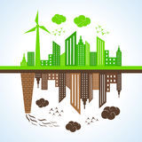 Eco and polluted city. Illustration of eco and polluted city Royalty Free Stock Image