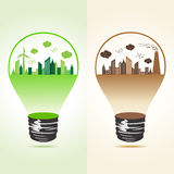 Eco and polluted cityscape in bulb Royalty Free Stock Photo