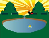 Eco Pond. With a rooster awakening the day and a duck swimming in pond Stock Photos