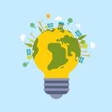 Eco pone verde la plantilla plana moderna del estilo del globo del mundo del planeta de la energía Imágenes de archivo libres de regalías
