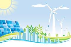 Eco power city Stock Photos