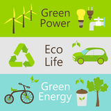 Eco power objects colorful web banners set. Vector illustration of ecology and green power templates Royalty Free Stock Image