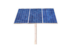 Eco power,Power plant using renewable solar cell on white background Stock Photography